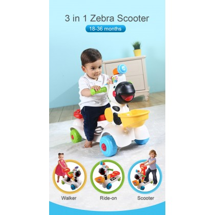Vtech 3 in 1 Learning Zebra Scooter / Baby Walker/ Ride On Car (12 Months+)