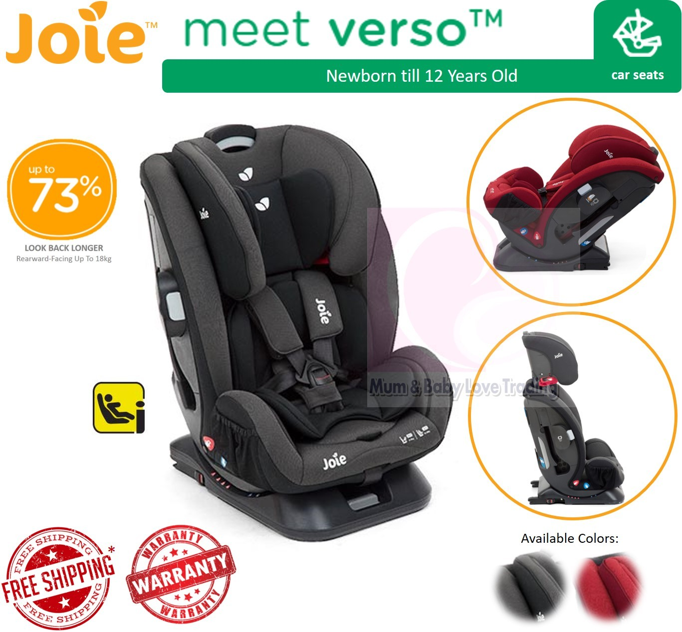 Joie Verso Convertible Isofix Baby Car Seat Newborn Till 36kg Free Shipping Cherry Ember