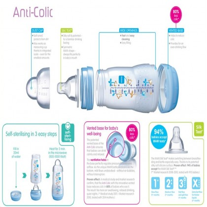 MAM Anti Colic Baby Feeding Bottle 260ml - Twin Pack (Blue / Pink / Ivory)
