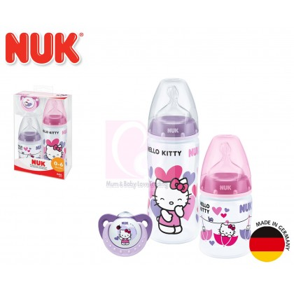 NUK Hello Kitty 150ml + 300ml Feeding Bottle + Pacifier (0 - 6 Months) Starter Set