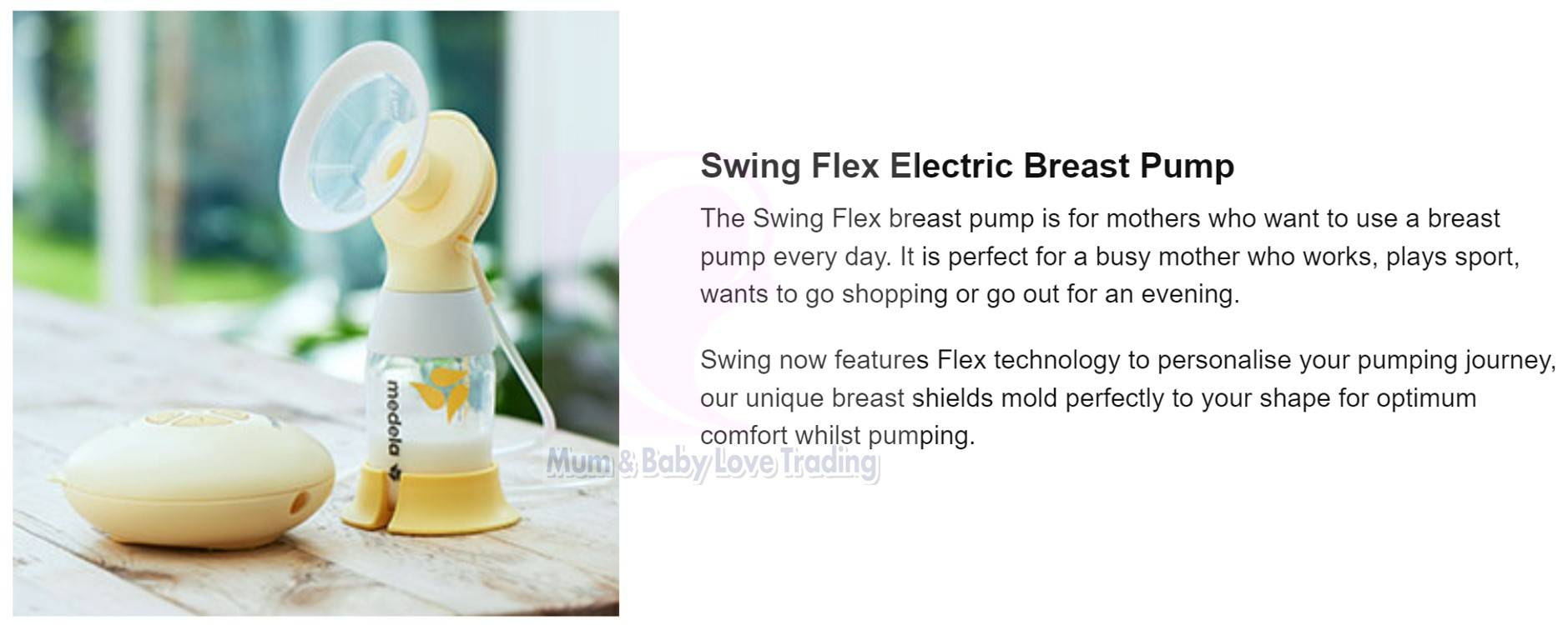 Medela Swing Flex Single Electric Breast Pump 21mm 24mm