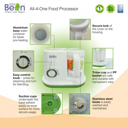 Little Bean All-4-One Food Processor (Steam, Blend, Defrost, Heat)