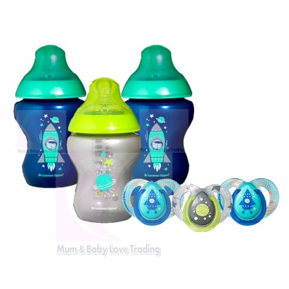 Tommee Tippee Closer to Nature Boldly Go Decorated Gift Set- 3x Baby Bottles & 3x Pacifiers