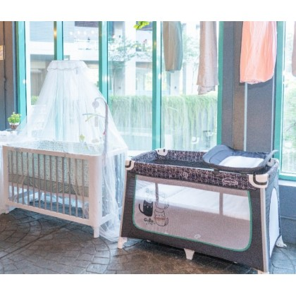 Comfy Baby Travel Cot 2 Layer Bassinet Baby Playpen (Elley) Optional: Topper Mattress