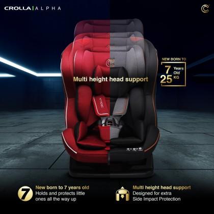 Crolla Alpha Convertible Baby Car Seat (Newborn- 25kg)- Red/ Black