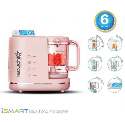 Isa Uchi iSMART Digital 6 in 1 Multi-Function Baby Food Processor (Steamer, Blender, Warmer, Sterilizer)- Turquoise/ Pink