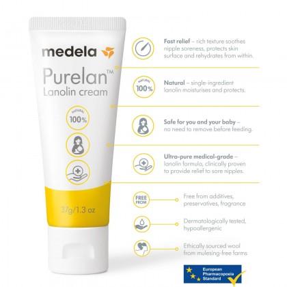 Medela Purelan Lanolin Cream 37g/ 1.3oz [New Packaging]- Fast Relief for Sore Nipples