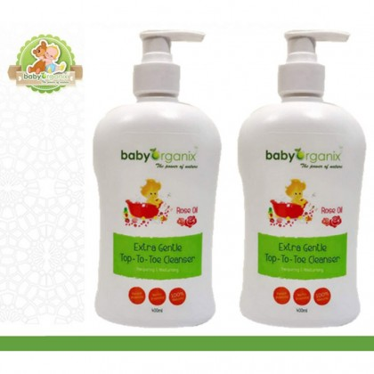 [TWIN PACK] Baby Organix Extra Gentle Top to Toe Cleanser 400ml (Rose Oil/ Grape) x 2