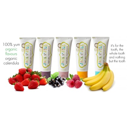 Jack n Jill Natural Organic Calendula Toothpaste 6 months+ (1pc) 50g- BubbleGum/ MilkShake/ Berries & Cream/ Banana/ Strawberry/ Blueberry/ Raspberry/ Blackcurrant